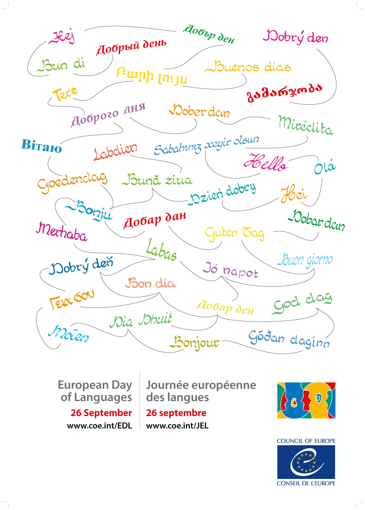 white poster multilingue European day of languages